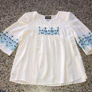 BOB MACKIE Wearable Art Top L new cream blue Large